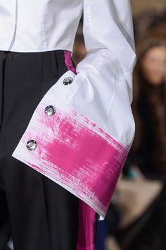 Maison Martin Margiela F/W '13   inspiration for fabric paint brushed on sleeve or side of pants à la tuxedo style
