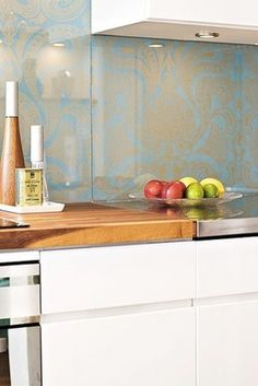 Kitchen Backsplash Wallpaper glass over wallpaper backsplash | kitchen things | pinterest