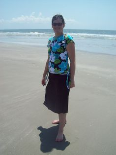 This is a comfortable, light weight modest bathing suit. I got several compliments on mine, and it looks just like this.