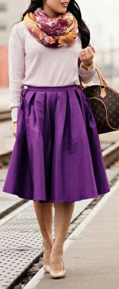 #Radiant_orchid swing skirt // love the color
