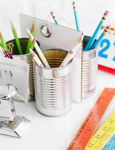 ~tin can organizer to use on student's desk for pencils, crayons, rulers, etc. to keep items out of the student's desk