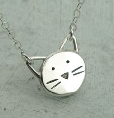 Cat Necklace   in sterling silver by Kathryn by KathrynRiechert...pinned by ♥ wootandhammy.com, thoughtful jewelry.