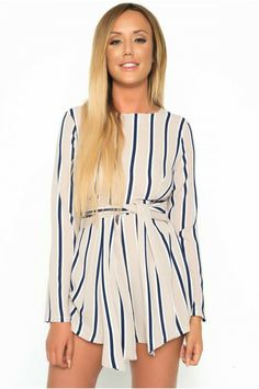 51238649ea Be on trend in this Charlotte Crosby stone striped playsuit. Perfect in the  day or night