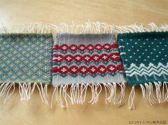 経糸が少し余ったときに織っていたブンデンローゼンゴンで作ったピンクッションです。クリスマスを意識して制作したわけではありませんが、グリーンベースにあわせた...