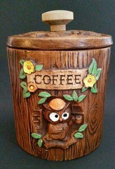 TREASURE CRAFT OWL COFFEE CANISTER W/LID TREE STUMP WOOD BROWN POTTERY CERAMIC