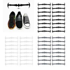 16pcs Easy No Tie Shoelaces Elastic Silicone Bat Run Shoe Laces Jogging Lazy