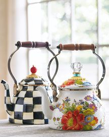 Tea Kettles by MacKenzie-Childs. Love the Courtly Check Tea Kettle. Chocolate Pots, Chocolate Coffee, Neiman Marcus Home, Dollar Tree Organization, Mckenzie And Childs, Damier, Teapots And Cups, Flower Market, High Tea