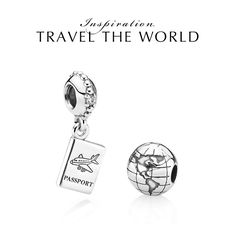 PANDORA's passport and globe charms are must-haves for any travel bracelet. :) #PANDORAcharm