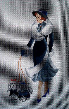 "Needlepoint canvas ""Lady in Blue""   $16"