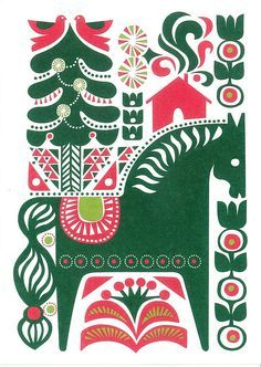 sarah green: illustrator living in SF — Marimekko & Sanna Annukka Card Scandinavian Pattern, Scandinavian Folk Art, Swedish Christmas, Scandinavian Christmas, Christmas Design, Christmas Art, Xmas, Modern Christmas, Arte Tribal