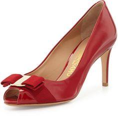 41002f25a9d0f Salvatore Ferragamo Pola Patent Bow Pump, Rosso Bow Shoes, Peep Toe Shoes,  Salvatore