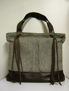 Large Upcycled Leather and Wool Tweed Bag