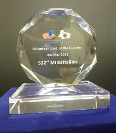 The award for the 2013 BN Volunteer of the Quarter on April 16, 2013