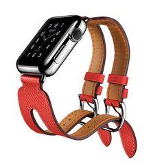 Manchette Apple Watch Hermès Double Boucle en cuir veau Epsom rose Jaipur