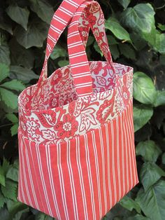 Coral/orange Small fabric tote bag by Gumdroptree on Etsy, $26.00