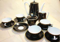 Купить Винтаж. Кофейный сервиз Черный фарфор ГДР - черный, фарфор, фарфоровая посуда