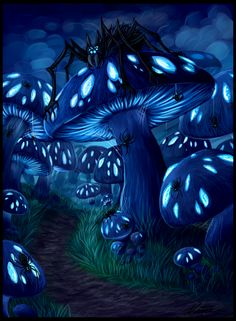 Mushroom forest by Niicchan.deviantart.com on @deviantART ♥ I normally avoid anything with spiders *shudders* but I love love love this!