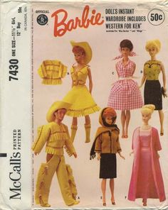 "Vintage Barbie™ Doll Clothes Sewing Pattern | Official Mattel Barbie® Doll's Instant Wardrobe includes Western for Ken® also fits Miss Barbie® and Midge™ | McCall's 7430 | Year 1964 | One Size - 11½"" Girl, 12"" Boy"
