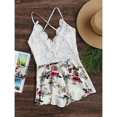 SheIn(sheinside) Floral Print Lace Bodice Criss Cross Backless Romper (185.990 IDR) ❤ liked on Polyvore featuring jumpsuits, rompers, white, floral rompers, white romper, white lace jumpsuit, white jumpsuit and white floral romper