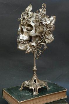 """My job is to mechanize skulls, mechanize taxidermied animals…"" Gonzal explains. ""I globally work about dehumanization, about human folly."" #inked #Inkedmag #tattoo #art #skull #skulls #ink #artist"