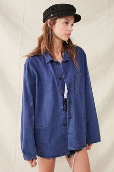 84101a4cde Vintage French Workwear Chore Jacket