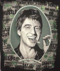 Antonio Montana Blk 3XL Men's T-Shirt Dollar Bills Green Sparkle + Big Graphics #NoTag #GraphicTee