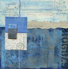 Mixed-media abstract collage in blues made with found papers and typewritten manuscript highlighting the words, & what would happen. Collage Kunst, Paper Collage Art, Collage Art Mixed Media, Paper Art, Encaustic Art, Art Journal Inspiration, Art Journal Pages, Art Auction, American Art