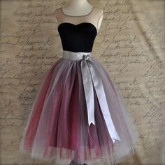 Saias Tulle Skirt 6 layers Double Color match High Waisted Tutu Skirts Women Pleated Skirt Faldas Jupe with Bow Belt 65CM