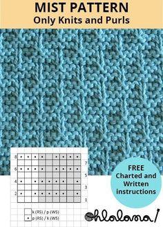 Nebel auf einer Fensterscheibe Stichmuster – knitting stitches for beginners Knitting Stiches, Knitting Blogs, Knitting Charts, Easy Knitting, Loom Knitting, Knitting Designs, Knitting Patterns Free, Crochet Patterns, Start Knitting