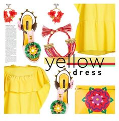 """""""Yellow Dress"""" by stacey-lynne ❤ liked on Polyvore featuring VANINA, RED Valentino, Loewe, Dolce&Gabbana and BaubleBar"""