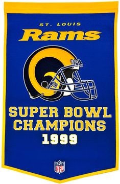 Los Angeles Rams Football Dynasty BannerIndoor wool flag with history of team Super Bowl championshipsWill ship in business x NFL licensed wool banner commemorating the Super Bowl Championships. Nfc West, Nfl Los Angeles, St Louis Rams, La Rams, Nfl Fans, San Francisco Giants, A Team, Team Logo, Hilarious Pictures