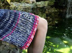 Womens Hemp Short Skirt Hmong Indigo Batik by SiameseDreamDesign, #Boho #Womens #Bohemian #Hmong #fashion #skirt