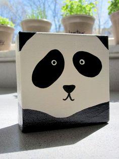 Original Adorable Panda Square Painting - 4 x 4 Panda painting? Kids Canvas Art, Small Canvas Paintings, Small Canvas Art, Easy Canvas Painting, Diy Canvas, Diy Painting, Black Canvas, Acrylic Painting For Kids, Black Painting