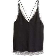 H&M Double-layer Lace Camisole Top $19.99 (€18) ❤ liked on Polyvore featuring tops, v-neck camisoles, lace camisoles, spaghetti-strap tops, lace camisole tops and v neck lace camisole