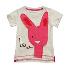 2015 New Little Maven Baby Girl Children Rabbit Light Grey Cotton Short Sleeve T-shirt