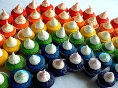 Rainbow Bites http://hoosierhomemade.com/st-patricks-day-food-rainbow-cupcakes-and-ice-cream/