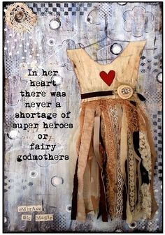 """In her ♡ thete was never a shortage of super heroes or fairy godmothers...."" __Inspirational Mixed Media Greeting Card by TheRubySlippersCo"