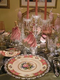 elegant pink table setting