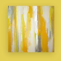"Art Original Acrylic Painting on Gallery Canvas Titled: Sunshine 36x36x1.5"" by Ora Birenbaum on Etsy, $385.00"
