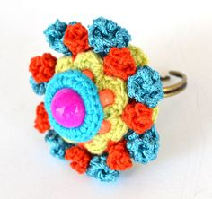 statement adjustable ring,crochet ring,colorful ring,large turquoise ring,textile ring,oversized ring,turquoise orange ring,tiny roses ring,