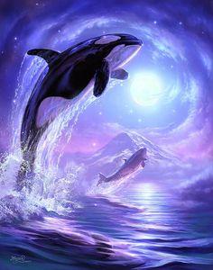 Metaverse Aquatic Touch the Sky by Canvas Art Jeff Haynie - Mammals Orca Art, Dolphin Art, Whale Art, Orca Kunst, Lion Art, Diamond Art, Killer Whales, Ocean Life, Spirit Animal