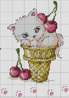 Cross Stitch Needles, Cross Stitch Art, Cross Stitch Animals, Cross Stitch Flowers, Cross Stitch Designs, Cross Stitching, Cross Stitch Patterns, Loom Patterns, Hello Kitty Wallpaper
