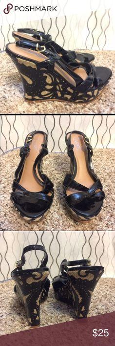 Selling this Carlos Santana wedge sandals size 7 on Poshmark! My username is: jenntye. #shopmycloset #poshmark #fashion #shopping #style #forsale #Carlos Santana #Shoes