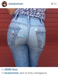 Check out the fabulous photo Lena Dunham instagrammed of Jemima Kirke showing a tiny peek of Hanky Panky's Signature Lace in True Blue! Sexy Jeans, Denim Skinny Jeans, Levis Jeans, Famous Girls, Vintage Jeans, Skin Tight, Tights, Womens Fashion, Jemima Kirke