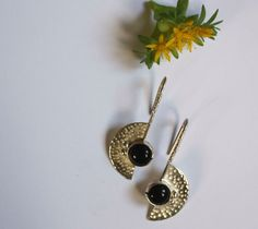 Oks earrings, Nordic axes jewelry in sterling silver and onyx