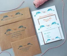 Weddbook is a content discovery engine mostly specialized on wedding concept. You can collect images, videos or articles you discovered  organize them, add your own ideas to your collections and share with other people - Orange and Turquoise with KRAFT envelopes - Rustic Wedding Invitations with floral design elements and Monogram. Modern typography style