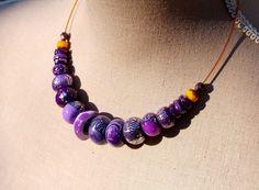 RESERVE- Collier violet lilas prune argenté pâte polymère perles de Bohême sur fil cablé - Collection Week : Collier par perles-et-petales