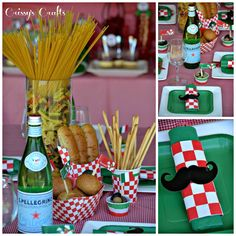 Crissy's Crafts: Girl Scouts Italian Night – Simple Meals Badge Italian Table Decorations, Dinner Party Decorations, Dinner Themes, Little Italy Party, Italy Party Theme, Italian Themed Parties, Italian Party Themes, Un Diner Presque Parfait, Pizza Party Birthday