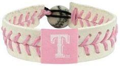 texas rangers pink wrist bands | Texas Rangers Baseball Seam Bracelet