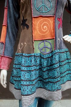 REVIVAL Boho Shabby Chic Shirt, Junk Gypsy Style, Funky Eclectic Tunic